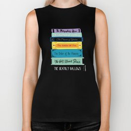 Hogwarts Stack of Wizardly Books Biker Tank
