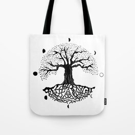 black and white tree of life with moon phases and celtic trinity knot II Tote Bag