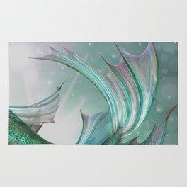 Mermaid, Ocean Sea, Pastel Purple,Teal, Green Rug