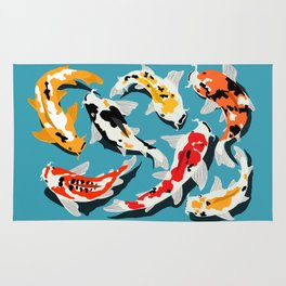 Colorful Koi Carps Swimming Around Rug