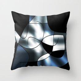ABSTRACT CURVES #1 (Black, Grays & White) Throw Pillow