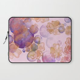 Pink Bubbles Watercolor Flower Laptop Sleeve