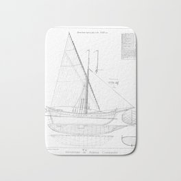 Vintage black & white sailboat blueprint drawing antique nautical beach or lake house preppy decor Bath Mat