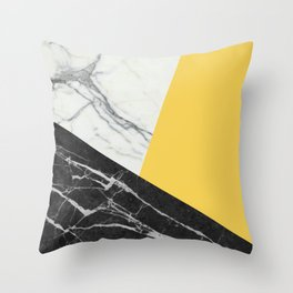 Black and White Marble with Pantone Primrose Yellow Throw Pillow