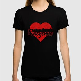 Retro Cheyenne Wyoming Skyline Heart T-shirt