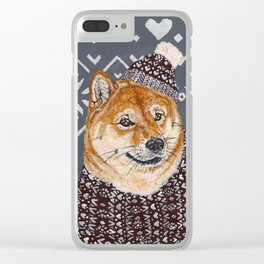 Shiba Inu in a  Hat and Scarf Clear iPhone Case
