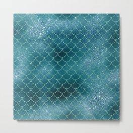 Turquoise Mermaid Scles Metal Print