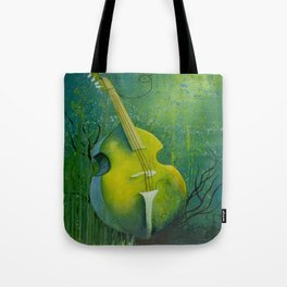 """""""Sunken Dreams"""" Upright Bass Instrument Painting Tote Bag"""