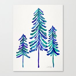 Pine Trees – Navy & Turquoise Palette Canvas Print