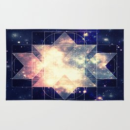 Galaxy Sacred Geometry: Golden Rhombic Hexecontahedron Rug