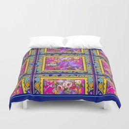 Western Blue Yellow Butterflies Garden  Pattern Design Duvet Cover