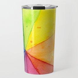 Rainbow Watercolor Geometric Pattern Travel Mug