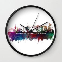 Thessaloniki skyline city blue Wall Clock