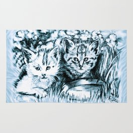 Blue Baby Cats Rug