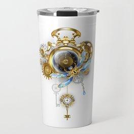 Steampunk Clock with Mechanical Dragonfly Travel Mug