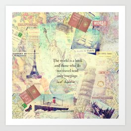 Travel quotes art prints society6 the world is a book travel quote art print gumiabroncs Images