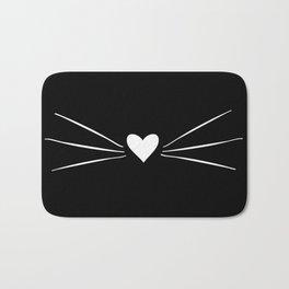 Cat Heart Nose & Whiskers White on Black Bath Mat