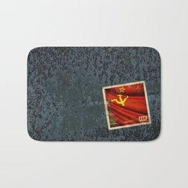Sticker of Soviet Union (1922-1991) flag Bath Mat