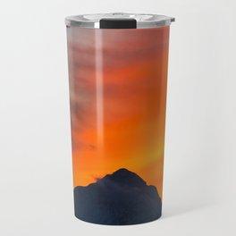 Stunning vibrant sunset behind mountain Travel Mug