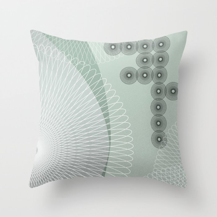 Swingtime in Green and Grey Throw Pillow