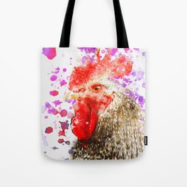 Rooster Watercolor, Painted Roost Art, Cool Chicken, Splatter Rooster Design, Rooster Decor Tote Bag