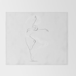 'Unfurl', Dancer Line Drawing Throw Blanket