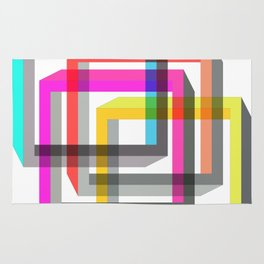 Colorful impossible 3D shapes overlapping. Rug