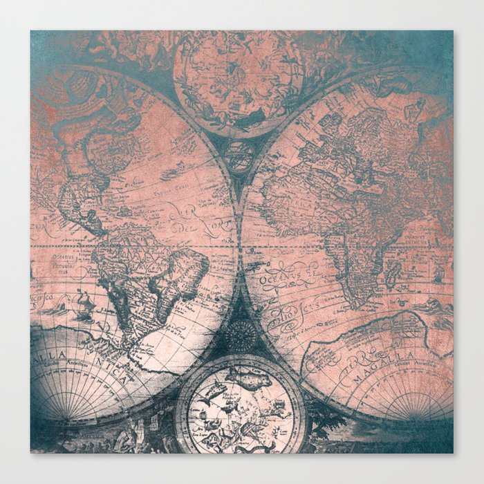 Vintage World Map Rose Gold And Storm Gray Navy Canvas Print By - Vintage looking world map