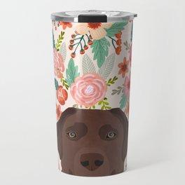 Chocolate Lab floral dog head cute labrador retriever must have pure breed dog gifts Travel Mug
