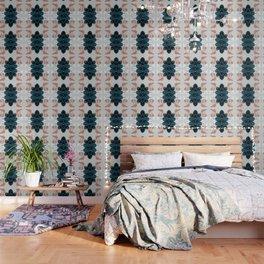 Blush & Blue Leaves Wallpaper