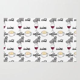 Wine Coffee Cats Rug