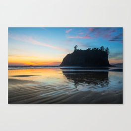 Ocean Dreams - Sunset Silhouette Along Ruby Beach in Washington Canvas Print