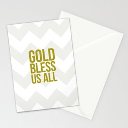 Gold Bless Us All Chevron Print Stationery Cards