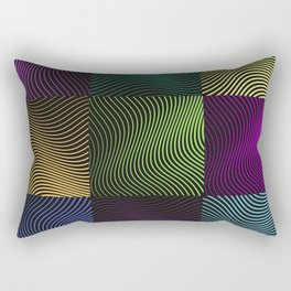 Colored Waves in Black Rectangular Pillow