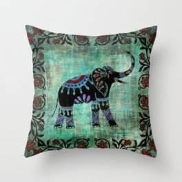 Decorated Elephant Rustic Floral Design Throw Pillow