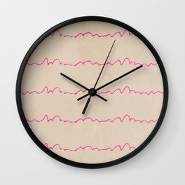 Abstract pastel brown pink watercolor hand painted waves Wall Clock