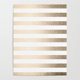 Simply Striped in White Gold Sands Poster