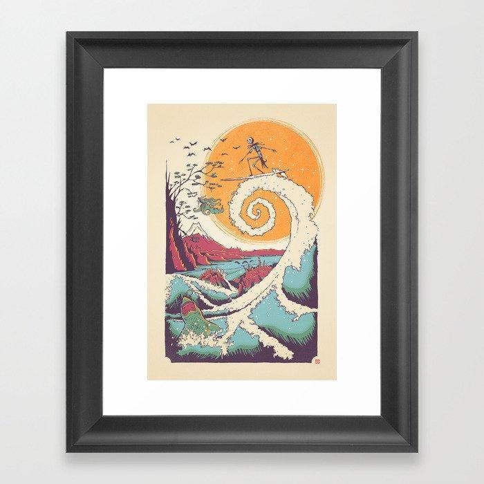 surf before christmas framed art print