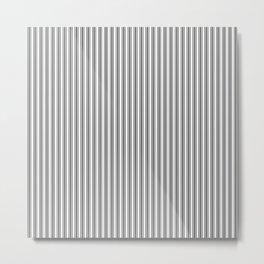 Trendy French Black and White Mattress Ticking Double Stripes Metal Print