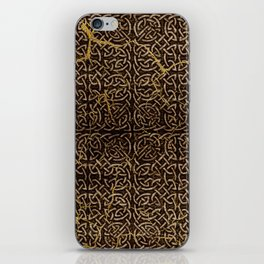 Celtic Wood Pattern with Gold Accents iPhone Skin