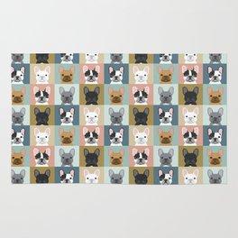 French Bulldog portraits pattern dog person gift love animal pet puppy frenchie bulldog valentines Rug