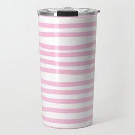 Pink Stripes Horizontal Travel Mug