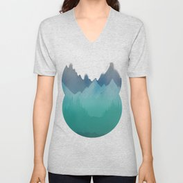 Ombre Mountainscape (Blue, Aqua) Unisex V-Neck
