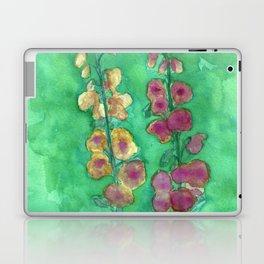 Hollyhock Foxglove Watercolor Honey & Berry on Green Laptop & iPad Skin