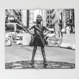 Fearless Girl NYC Throw Blanket