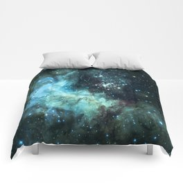 Teal Green Galaxy : Celestial Fireworks Comforters