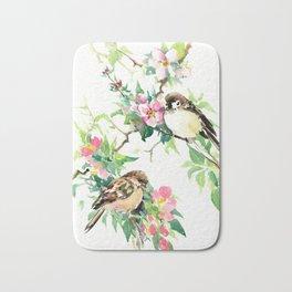 Sparrows and Apple Blossom Bath Mat