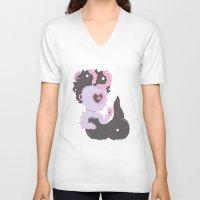 ursula V-neck T-shirts featuring LTTLE URSULA by MujerCiervo