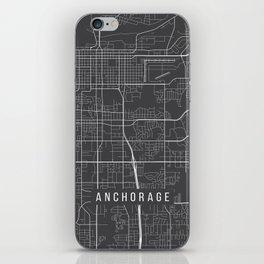 Anchorage Map, Alaska USA - Charcoal Portrait iPhone Skin