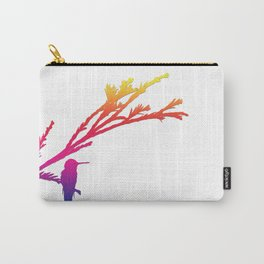Hummingbird silhouette in rainbow colors Carry-All Pouch